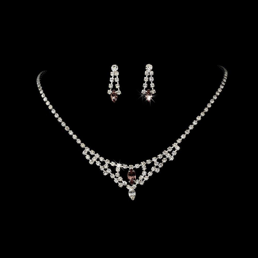 Silver Light Amethyst Chandelier Necklace Earring Set