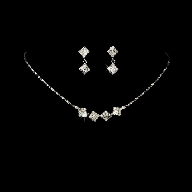 Silver Clear Crystal Square Necklace Earring Set