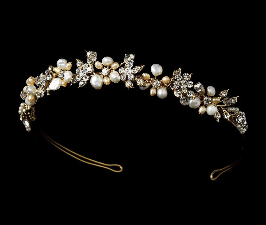 Gold Pearl Swarovski Crystal Bridal Headband Tiara