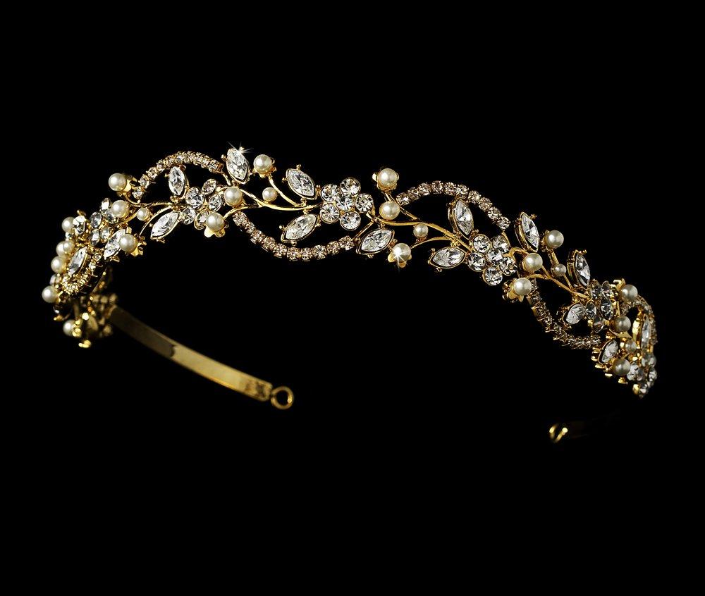 Gold Rhinestone Crystal Pearl Floral Tiara Headband