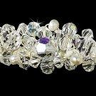 Silver AB Swarovski Crystal White Pearl Tiara Headband