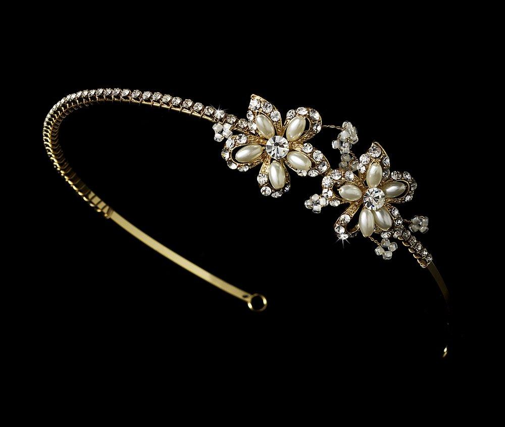 Gold Rhinestone Pearl vory Flower Bridal Tiara Headband