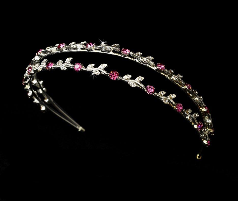 Silver Fuchsia Crystal Double Vine Headband Tiara