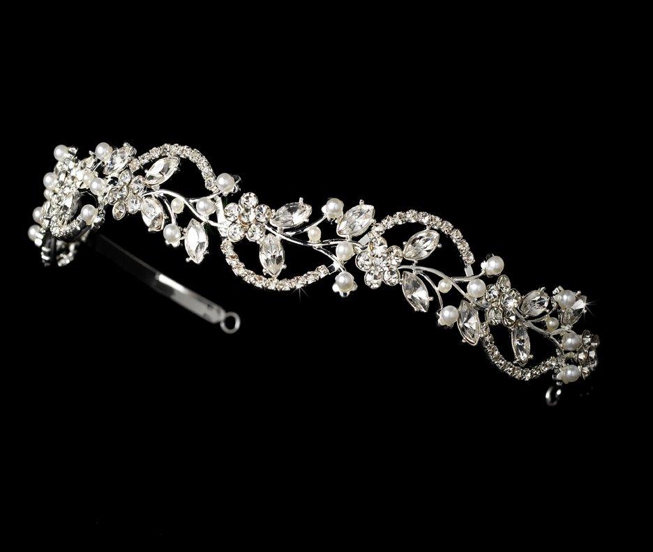 Silver Rhinestone Crystal Pearl Floral Tiara Headband