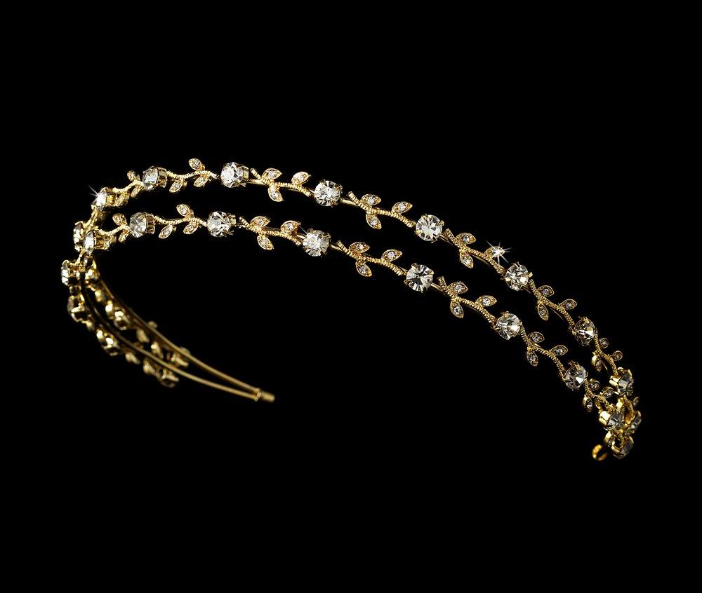 Gold Rhinestone Crystal Double Vine Headband Tiara
