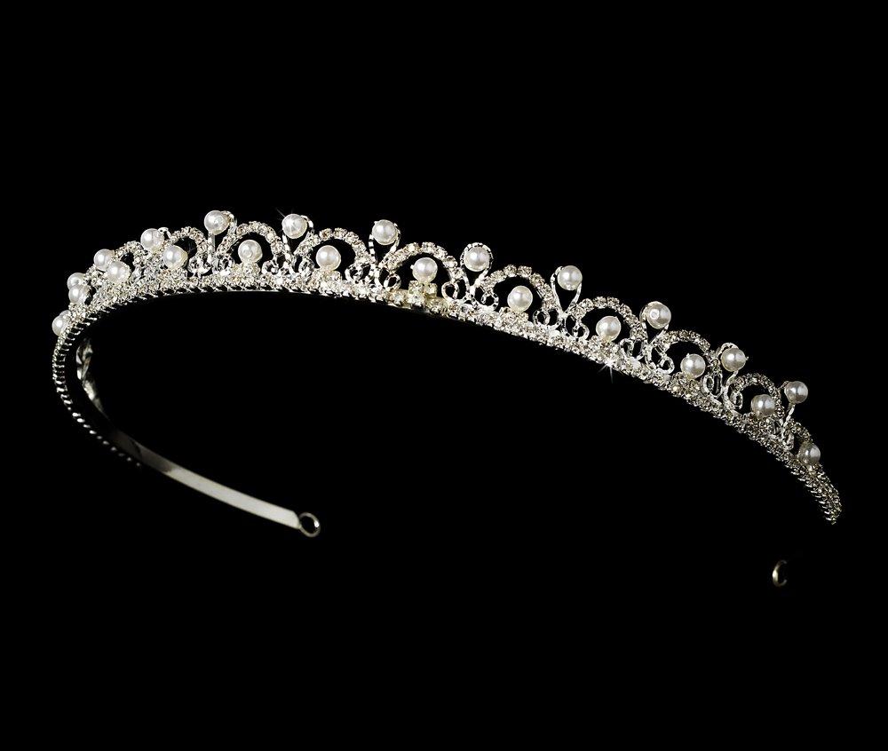 Silver Crystal White Pearl Fairy Tale Tiara Headband