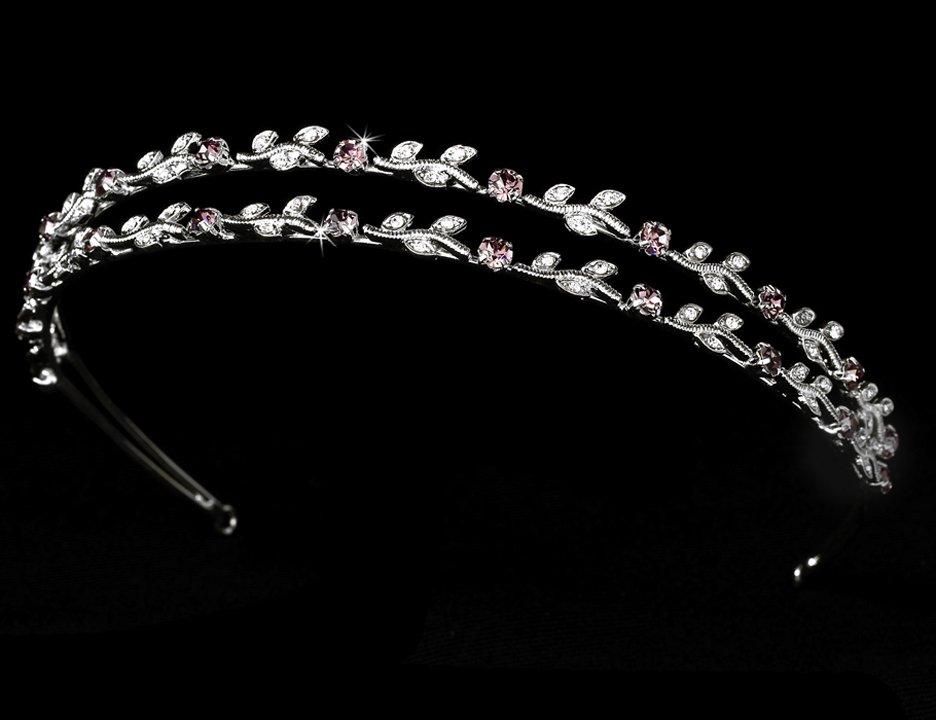 Silver Light Amethyst Crystal Vine Headband Tiara