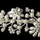 Silver White Pearl Rhinestone Flower Headband Tiara