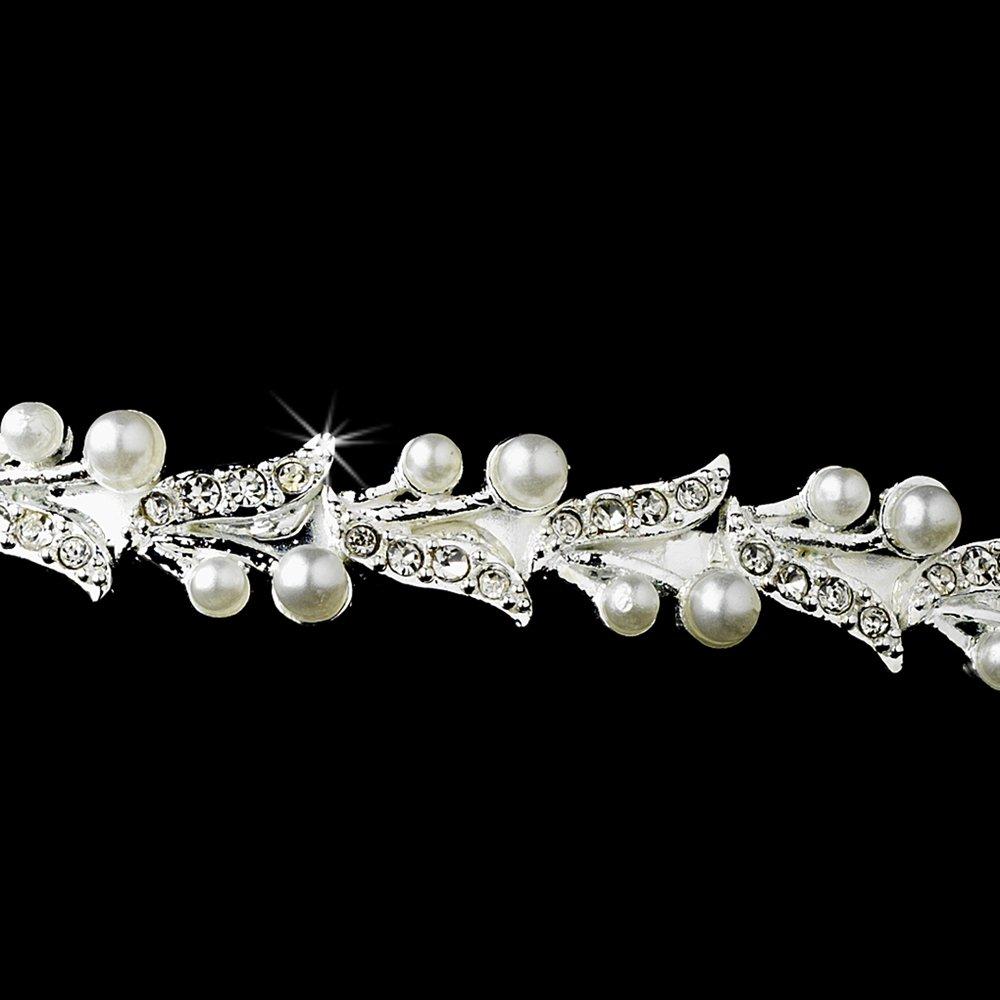 Silver Rhinestone Crystal Pearl Lily Tiara Headband