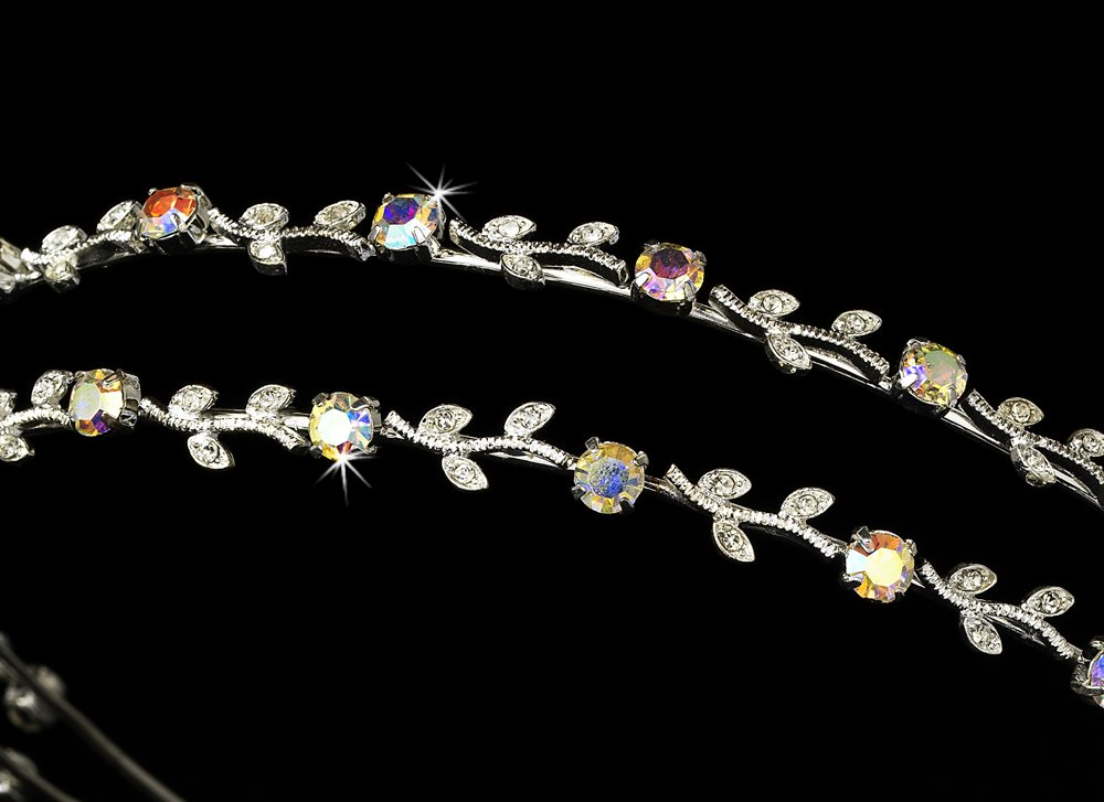 Silver AB Crystal Double Vine Headband Tiara