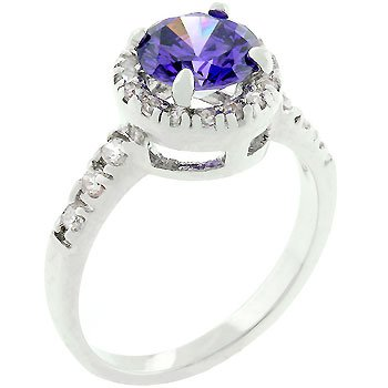 NEW White Gold Tanzanite CZ Fashion Ring