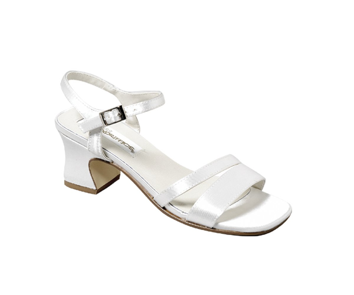 White Satin Dyeable Girls Sandal Dress Shoes Wide