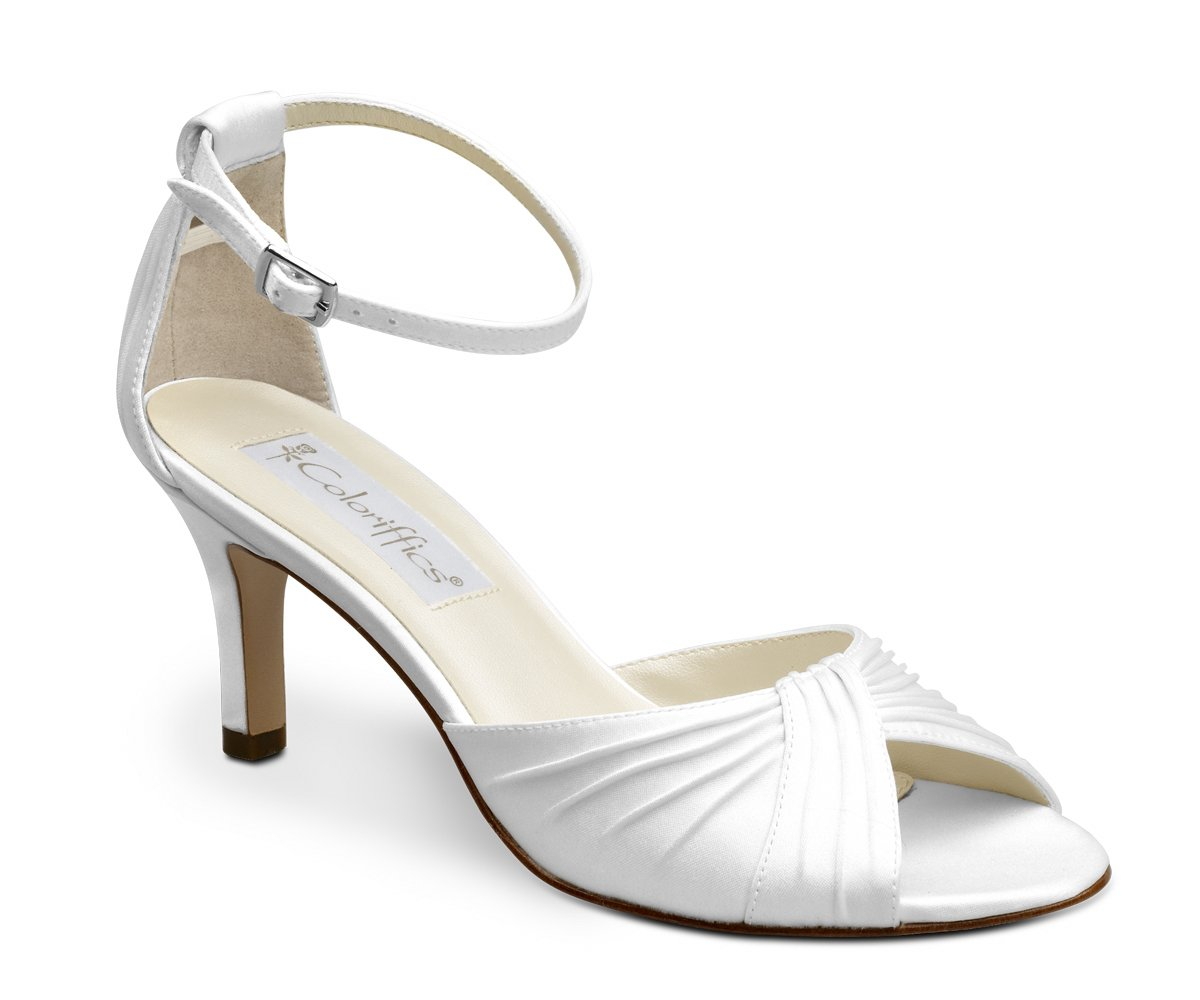 White Dyeable Satin Open Toe Close Back Shoes