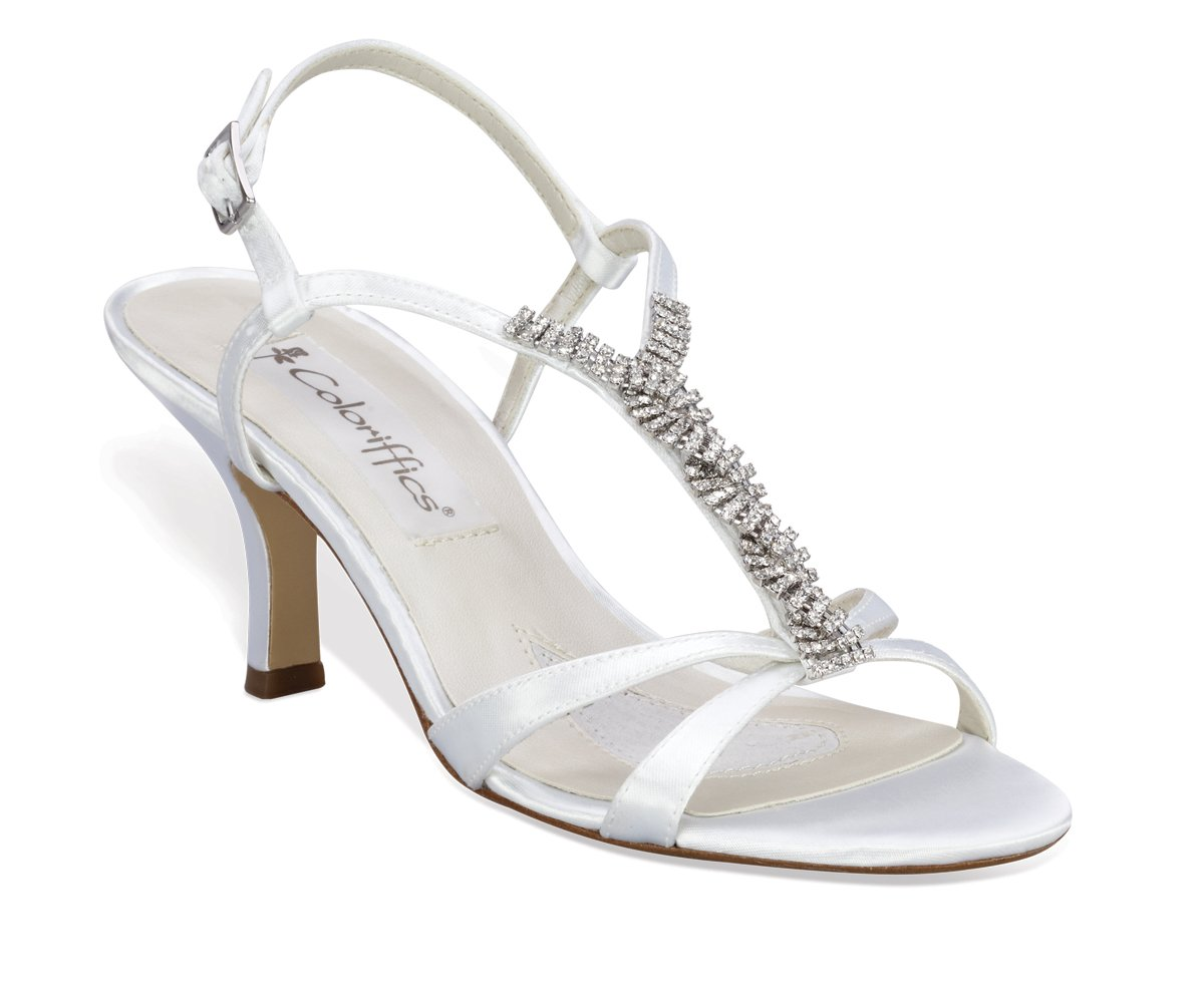 White Satin Dyeable Rhinestone T Strap Shoes