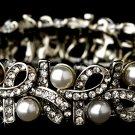 Silver Rhinestone White Pearl Ribbon Stretch Bracelet