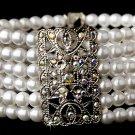 Silver Rhodium AB Crystal Pearl Stretch Bracelet