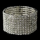 Silver Clear Rhinestone Crystal Stretch Bracelet