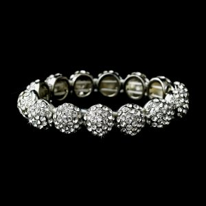 Silver Clear Crystal Round Stretch Bracelet