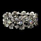 Silver AB Rhinestone Crystal Leaf Stretch Bracelet