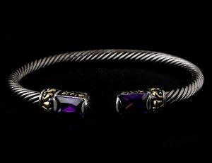 Silver Amethyst Gold Tipped Bangle Bracelet