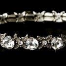Silver Clear CZ Crystal Bloom Stretch Bracelet