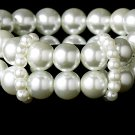 White Pearl Double Strand Stretch Bracelets