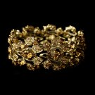 Gold Colorado Rhinestone Crystal Leaf Bracelet
