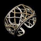 Silver Gold  Rhinestone Designer Cuff Bracelet