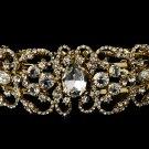 Gold Rhinestone Crystal Bridal Cuff Bracelet