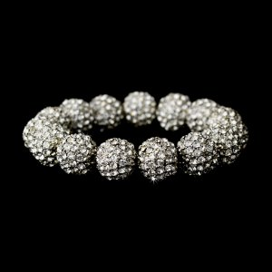 Silver Clear Crystal 12mm Pave Ball Stretch Bracelet