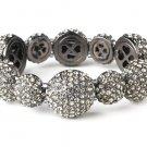 Silver Hematite Rhinestone Crystal Stretch Bracelet