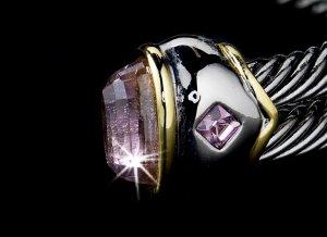 Silver Pink Rhinestone Double  Bangle Bracelet