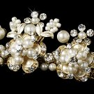 Gold Crystal Pearl Flower Bridal Tiara