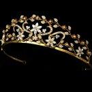 Enchanting Gold Rhinestone Pearl Bridal Tiara