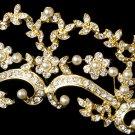 Gold Ivory Pearl Rhinestone Floral Bridal Tiara