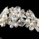 Silver Swarovski White Pearl Bridal Tiara