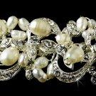 Silver Ivory Pearl Rhinestone Crystal Bridal Tiara