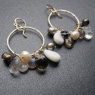 925 Sterling Silver Multi Stone Neutral Hoop Earrings