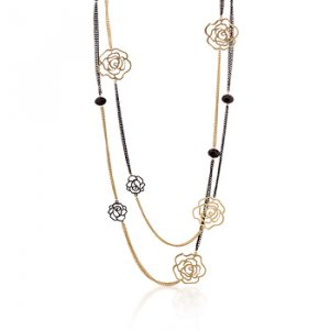 14K Gold Black Rose Dual Chain Necklace