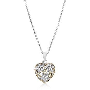 14K Gold Rhodium Heart Necklace Pendant
