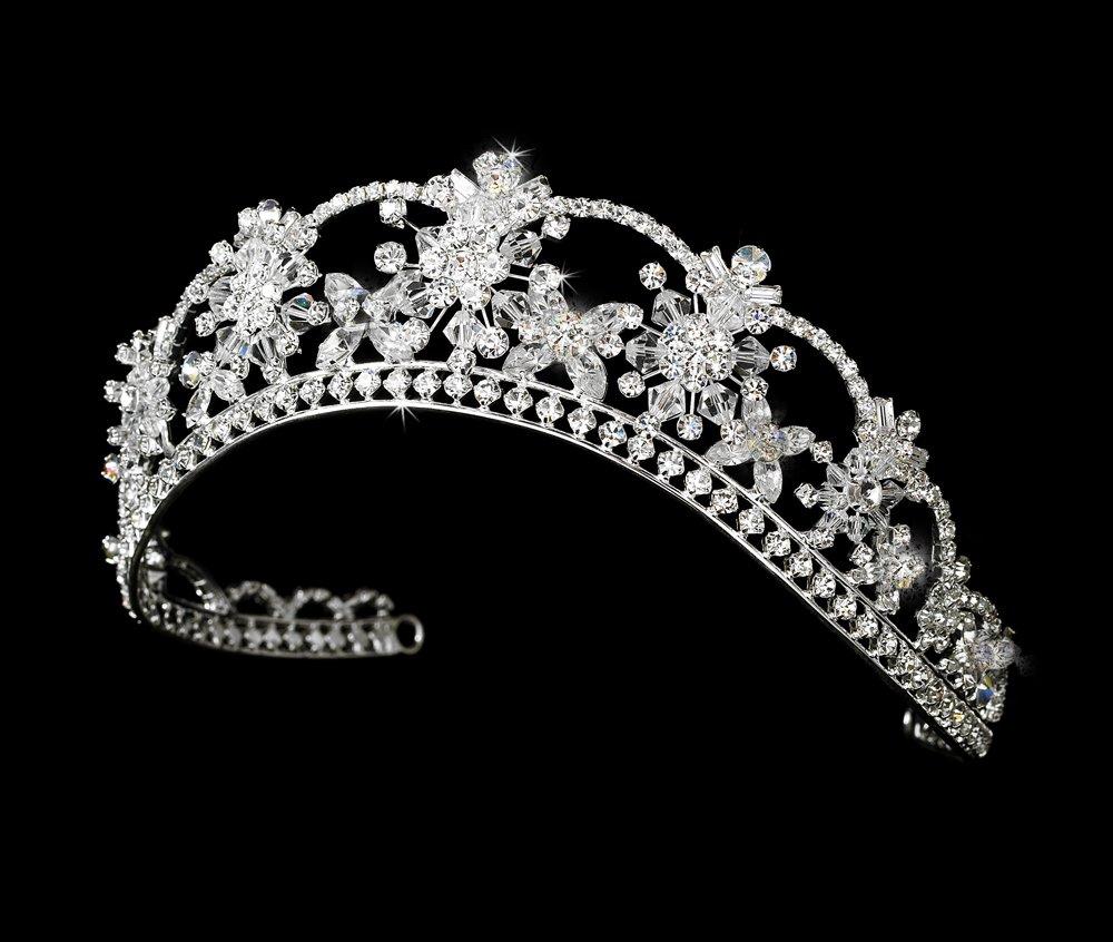 Silver Clear Swarovski Crystal Flower Bridal Tiara