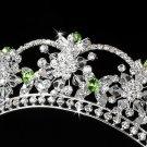 Silver Green Swarovski Crystal Flower Bridal Tiara