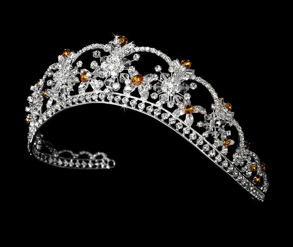 Silver Orange Swarovski Crystal Flower Bridal Tiara