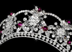 Silver Fuchsia Swarovski Crystal Flower Bridal Tiara