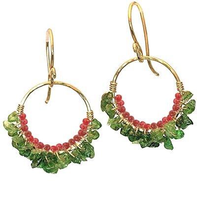 14K Gold Filled Tsavorite Wrapped Hoop Earrings