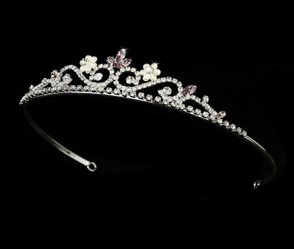 Silver Lilac Crystal Pearl Floral Bridal Tiara