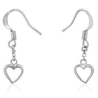 Rhodium Heart Drop Earrings
