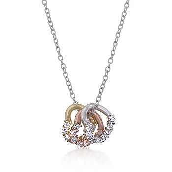 14K Gold Rose Gold Rhodium Hearts Necklace