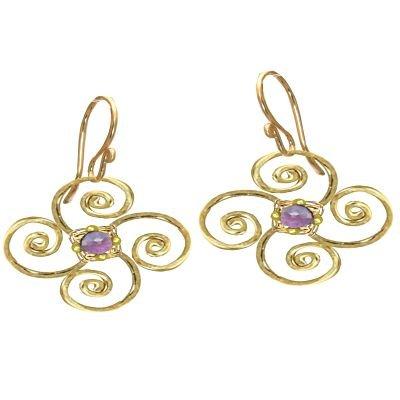 14K Gold Filled Flower Pale Amethyst Earrings
