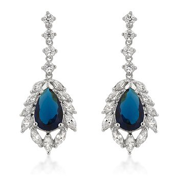 Sterling Silver Sapphire Blue CZ Drop Earrings